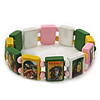 """Multicoloured Bob Marley """"One Love"""" Wooden Stretch Bracelet - up to 20cm length"""