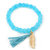 Light Blue Glass Bead Stretch Bracelet with Gold Plated Feather Charm & Silk Tassel - 6mm - Up to 20cm Length