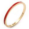 Thin Red Enamel 'TAKE HEART' Slip-On Bangle Bracelet In Gold Plating - 18cm Length
