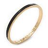 Thin Black Enamel 'AN ACE UP YOUR SLEEVE' Slip-On Bangle Bracelet In Gold Plating - 18cm Length