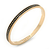 Thin Black Enamel 'ET CETERA' Bangle Bracelet In Gold Plating - 18cm Length
