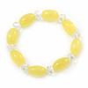 Lemon Yellow/ Transparent Glass Bead Stretch Bracelet - 17cm Length