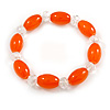 Orange/ Transparent Glass Bead Stretch Bracelet - 17cm Length
