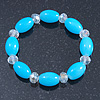 Light Blue/ Transparent Glass Bead Stretch Bracelet - 17cm Length
