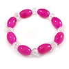 Magenta/ Transparent Glass Bead Stretch Bracelet - 17cm Length