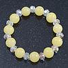 Lemon Yellow/ Transparent Round Glass Bead Stretch Bracelet - up to 18cm Length
