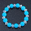 Light Blue/ Transparent Round Glass Bead Stretch Bracelet - up to 18cm Length