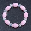 Baby Pink/ Transparent Glass Bead Stretch Bracelet - 17cm Length