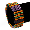 Multicoloured Wood Bead & Bar Flex Bracelet (Purple, Orange, Green) - 18cm Length