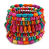 Wide Coil Multicoloured Wood Bead Bracelet - Adjustable