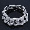 Glamorous Chunky Rhodium Plated Swarovski Elements Crystal Encrusted Chain Link Bracelet - 18cm Length
