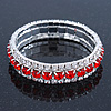 Bright Red/Clear Swarovski Crystal Flex Bracelet (Silver Tone Metal) - 18cm Length