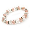 Pale Pink/ Transparent Glass Bead With Silver Tone Crystal Ring Stretch Bracelet - up to 21cm Length