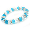 Light Blue/ Transparent Glass Bead With Silver Tone Crystal Ring Stretch Bracelet - up to 21cm Length