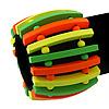 Teen Wide Neon Green/ Neon Orange/ Neon Yellow Wood Flex Bracelet - up to 17cm Length