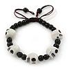 White Acrylic Skull Bead Children/Girls/ Petites Teen Friendship Bracelet On Black String - (13cm to 16cm) Adjustable
