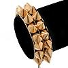 Gold Tone Acrylic Spike Friendship Bracelet On Beige Silk Cord - Adjustable