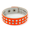 Crystal Studded Neon Orange Faux Leather Strap Bracelet - Adjustable up to 20cm