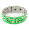 Crystal Studded Neon Green Faux Leather Strap Bracelet - Adjustable up to 20cm