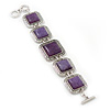 Vintage Amethyst Square Ceramic Etched Bracelet With Toggle Clasp -18cm Length/ 2cm Extension