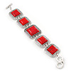 Vintage Coral Red Square Ceramic Etched Bracelet With Toggle Clasp -18cm Length/ 2cm Extension