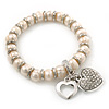 Freshwater Pearl Swarovski Crystal 'Heart' Charm Flex Bracelet In Rhodium Plating - 18cm Length