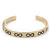 Polished Gold Tone 'Infinity' Slip-On Cuff Bracelet - up to 21cm