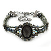 Victorian Style Black, Grey, AB Beaded Bracelet In Gun Metal Finish - 15cm Length/ 5cm Extension