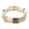 Two Strand Shell, Glass, Imitation Pearl Bead Flex Bracelet (Cream, Antique White) - 18cm Length