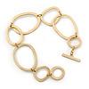 Matt Gold Tone Geometric Bracelet With T-Bar Closure - 17cm Length