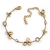Vintage Inspired Crystal, Open Flower Delicate Bracelet In Antique Gold Metal - 17cm Length/ 6cm Extention
