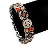 Vintage Inspired Floral Enamel, Crystal Flex Bracelet In Pewter Tone Metal (Pink, Citrine) - 18cm Length