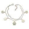 Delicate Silver Tone Double Chain With Enamel Floral Charms Bracelet (White/ Pale Green) - 18cm Length/ 4cm Extension