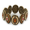 Vintage Inspired Enamel Oval Flex Bracelet In Bronze Tone (Magnolia, Light Brown) - 18cm Length