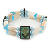 Two Strand Shell, Glass, Imitation Pearl Bead Flex Bracelet (Cream, Light Blue Colours) - 18cm Length