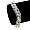 Clear Swarovski Crystal Curved Bracelet In Rhodium Plated Metal - 17cm Length