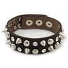 Crystal Studded Dark Brown Faux Leather Strap Bracelet (Silver Tone) - Adjustable up to 22cm