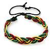 Unisex Red, Yellow, Green & Black Rasta Bob Marley Silk Cord Bracelet - Adjustable