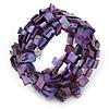 Wide Purple Shell Nugget Multistrand Flex Bracelet - Adjustable