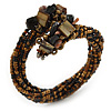 Brown, Black, Gold Cluster Glass Bead Flex Wire Bracelet - Adjustable