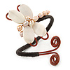 Freshwater Pearl, Mother Of Pearl Butterfly Copper Wire Flex Bracelet