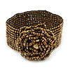 Bronze Gold Coloured Glass Bead Rose Flex Bracelet - 18cm L