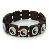 'Yin Yang' Stretch Brown Wooden Bracelet - Adjustable