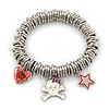 PINK COOKIE IN PURSE Hearts, Skull, Star Charm Round Link Flex Bracelet In Rhodium Plating - 17cm L (For Small Wrist)
