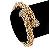 Gold Tone Mesh Flex Crystal Bangle Bracelet - Adjustable