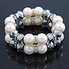 Chunky Imitation Pearl & Mirror Silver Glass Bead, Crystal Flex Bracelet - 19cm L
