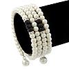 White Faux Pearl, Black Glass Bead Coil Flex Bracelet - Adjustable