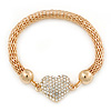 Gold Tone Mesh Bracelet With Crystal Heart Magnetic Closure - 17cm Length