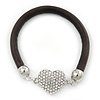 Black Rubber Bracelet With Crystal Heart Magnetic Closure - 17cm L - For small wrist