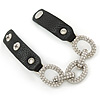 Clear Crystal Oval Link With Faux Black Leather Bracelet In Gold Tone - 19cm L